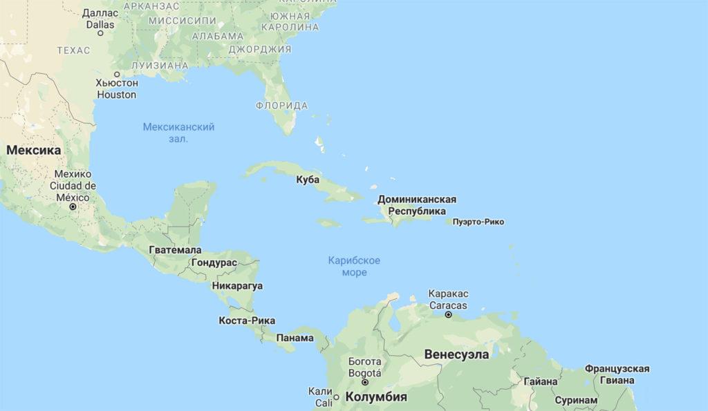 Куба и Доминикана на карте мира