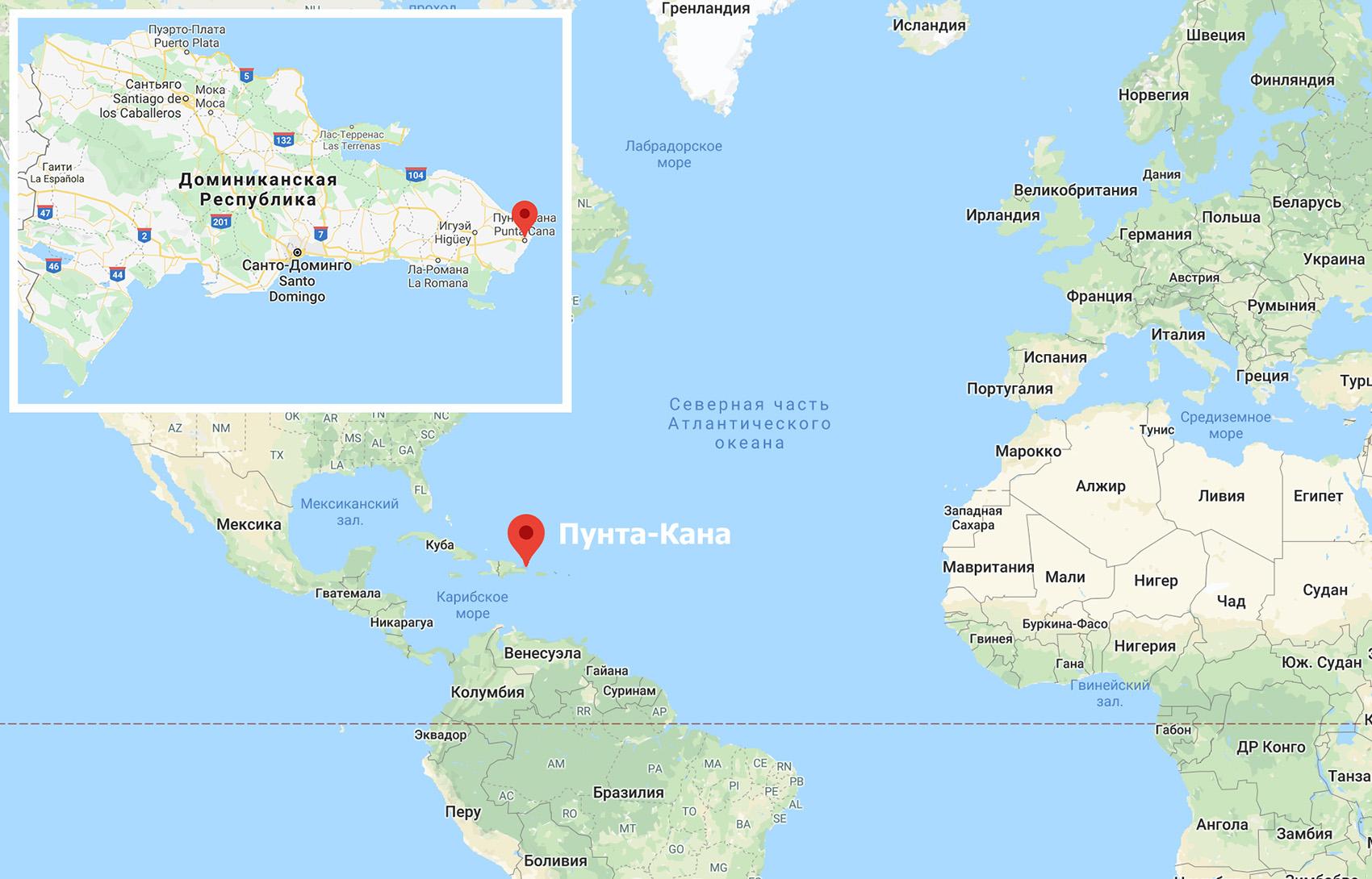 Пунта-Кана на карте